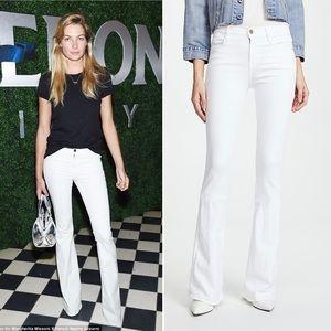 FRAME Denim Le High Flare Blanc White Denim Jeans